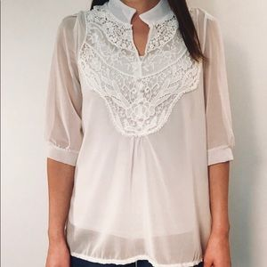 Tops - Light and Airy White Lace Top